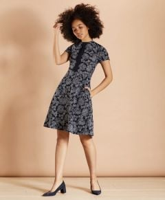 VESTIDO MUJER FLORAL-EMBROIDERED A-LINE