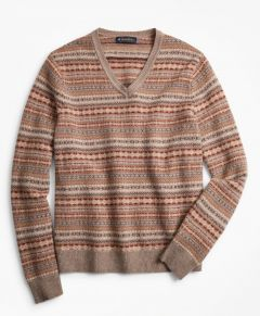SWEATER HOMBRE LAMBSWOOL FAIR ISLE V-NECK