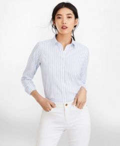 BLUSA MUJER CLASSIC-FIT STRIPED COTTON DOBBY LUXURY